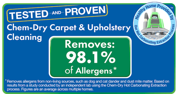 Carpet Cleaning by On The Spot Chem-Dry removes 98% of Allergens and 89% of Airborne Bacteria